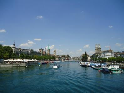 A river divides the city.