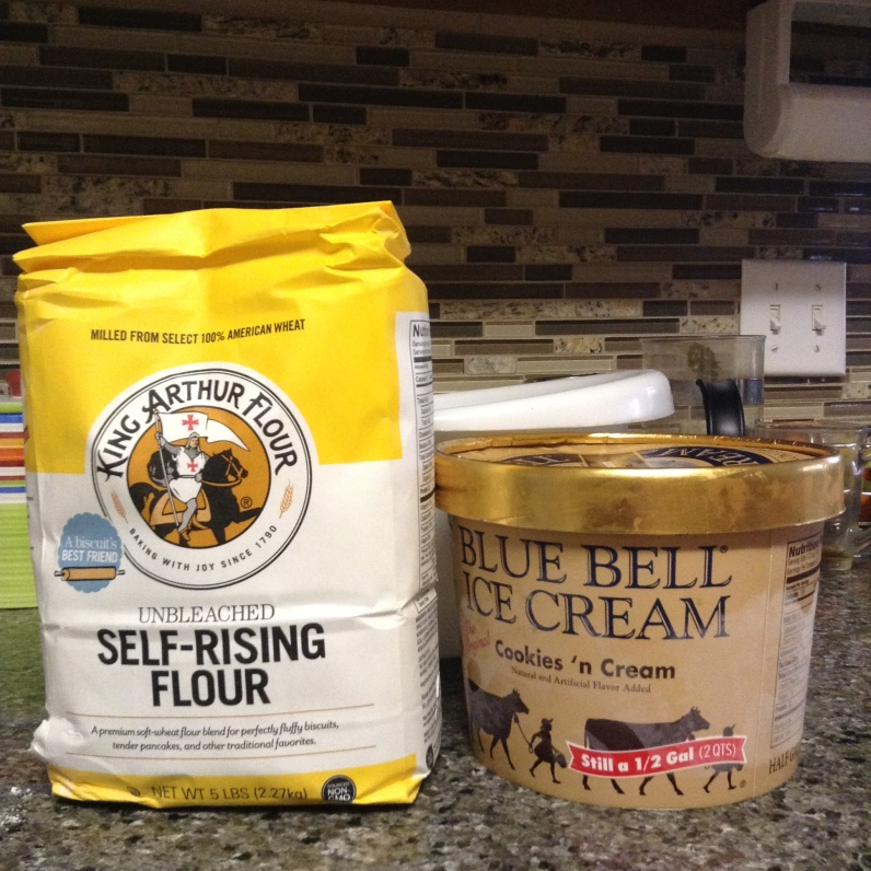 The only two ingredients you really need -- ice cream and self-rising flour!