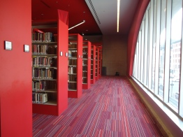 More modern library upstairs.