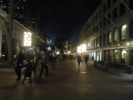 Quincy Market at night.
