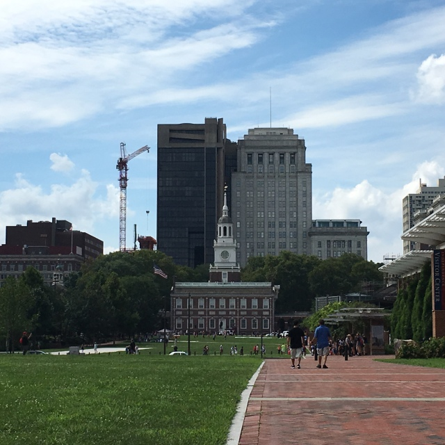 independence hall in front, the visitor center to the left