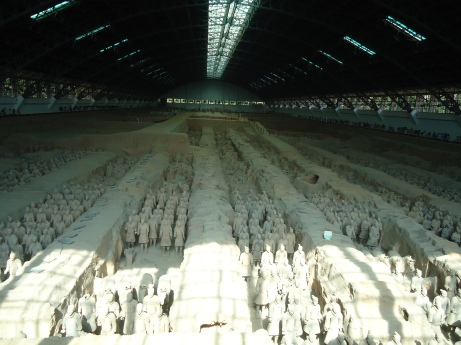 Terracotta warriors (largest tomb uncovered yet): tomb 1 -- front view