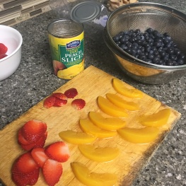 strawberries, canned peaches, blueberries