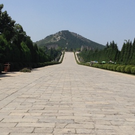 Burial mound of the first empress of China, Wu Ze Tian. (Tang Dynasty)
